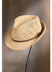Crocheted Raffia Fedora Hat