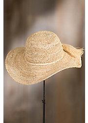 Handmade Crocheted Raffia Floppy Hat
