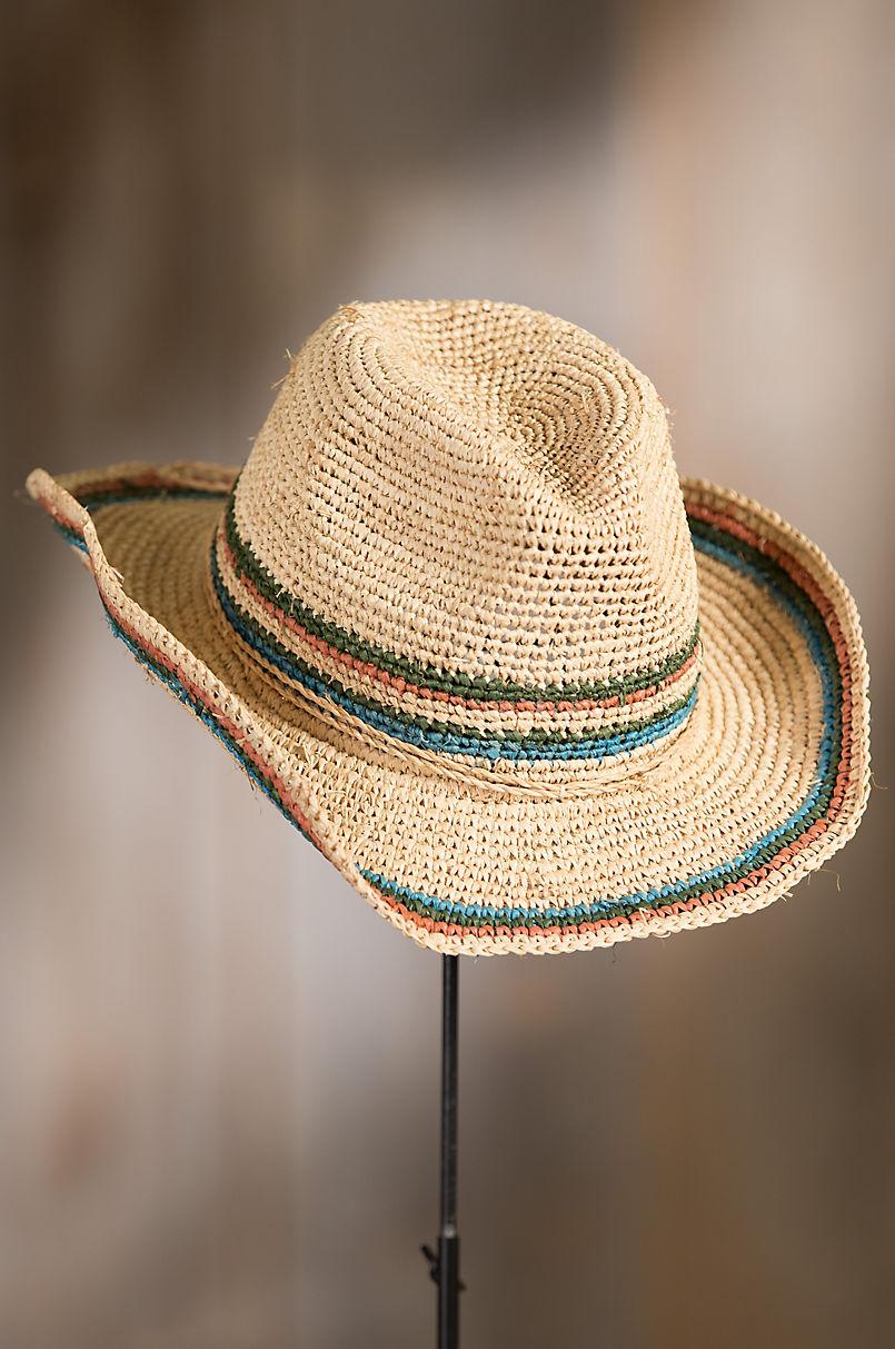 Crocheted Raffia Cowboy Hat Overland