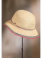 Crocheted Raffia Floppy Cloche Hat