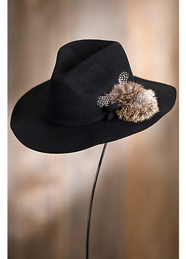 Bordeaux Wool Felt Fedora Hat with Rabbit Fur Pom