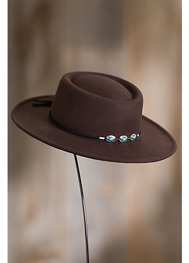 Felt Gambler Hat with Concho Band