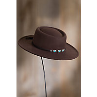 Steampunk Hats | Top Hats | Bowler Felt Gambler Hat with Concho Band CHOCOLATE Size 1 Size Approx. 22quot circumference $35.00 AT vintagedancer.com