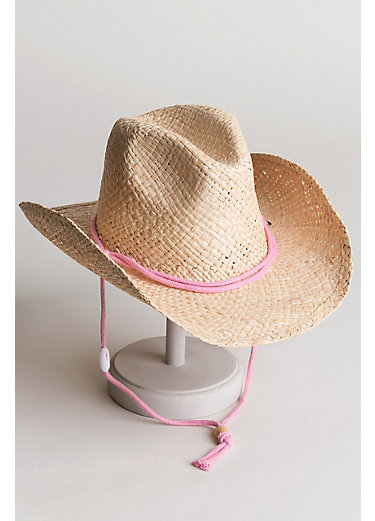 Children's Raffia Western Hat with Cotton Chin Cord