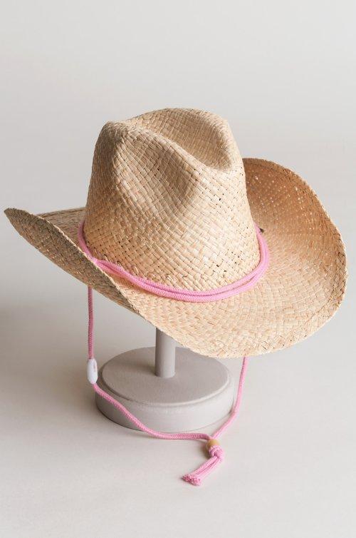Children's Raffia Western Hat with Cotton Chin Cord