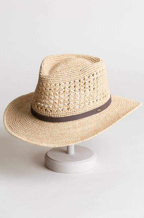 Crushable Raffia Outback Hat with Leather Band