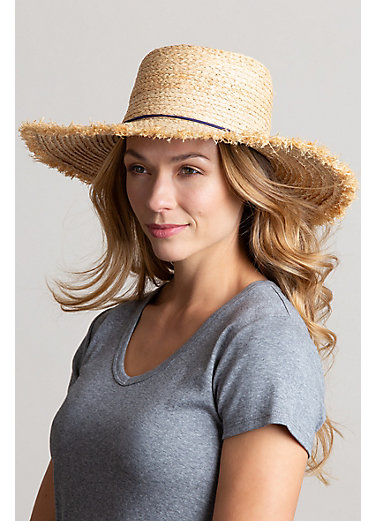 Braided Raffia Floppy Sun Hat with Tassels
