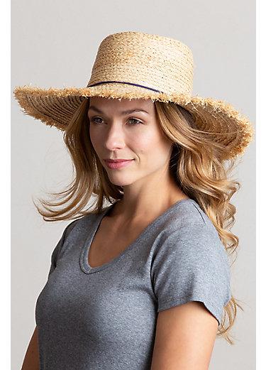 Braided Raffia Floppy Sun Hat with Tassels