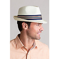 1950s Mens Hats | 50s Vintage Men's Hats Vincent Toyo Straw Fedora Hat with Striped Hatband $49.00 AT vintagedancer.com