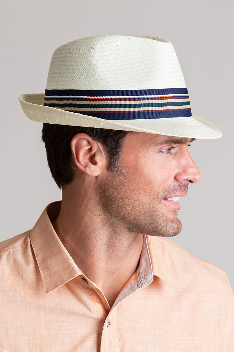 Overland Toyo Straw Fedora Hat with Striped Ribbon  3aa8d511059