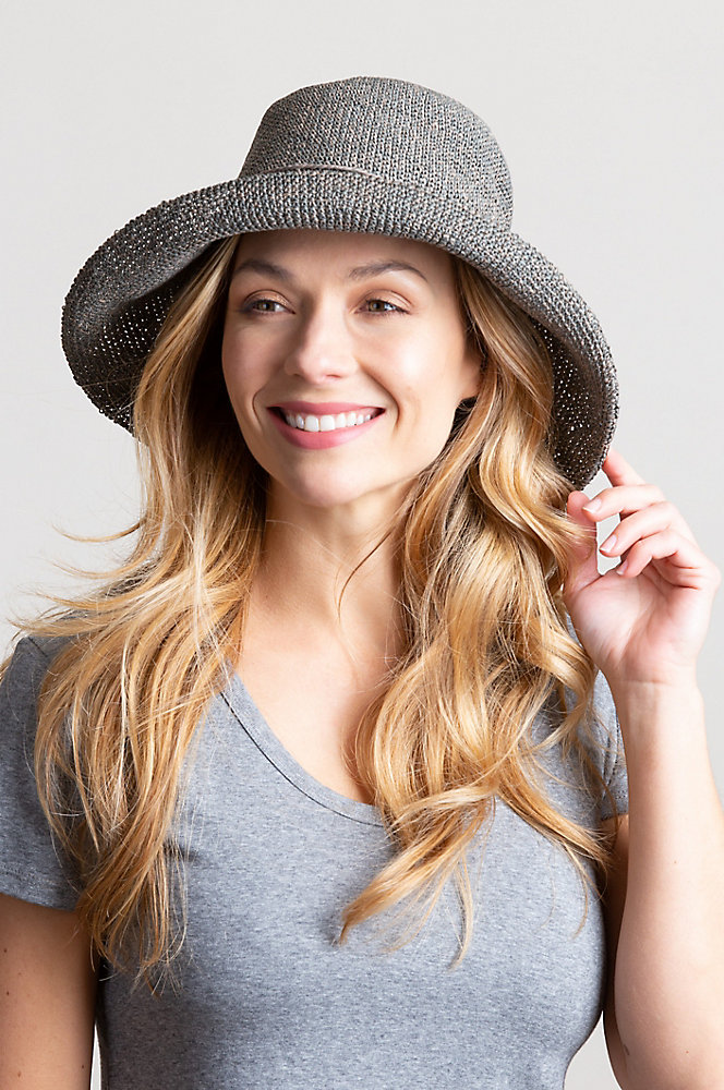Upturn Crocheted Toyo Straw Floppy Hat