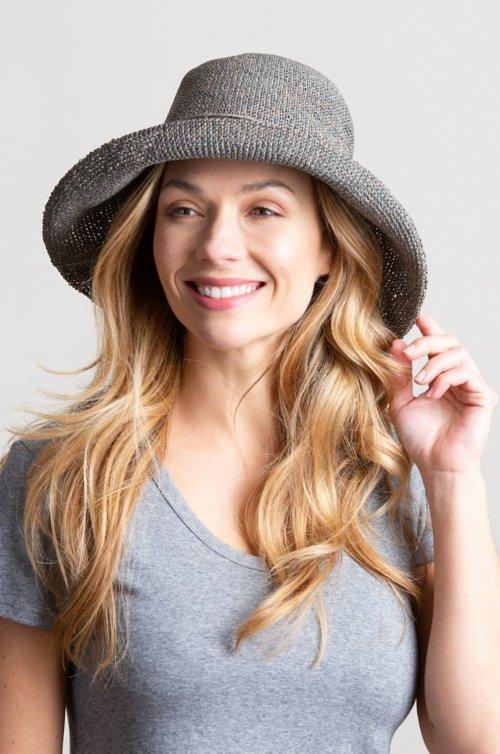 Overland Upturn Crocheted Toyo Straw Floppy Hat