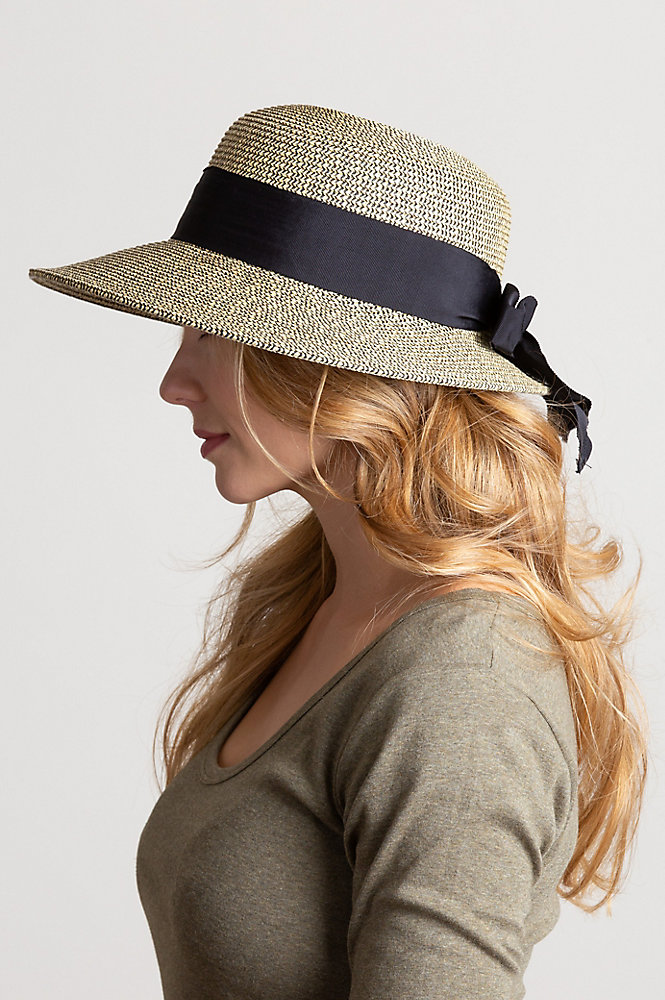 Packable Paper Braid-Blend Straw Sun Hat with Grosgrain Bow Brim