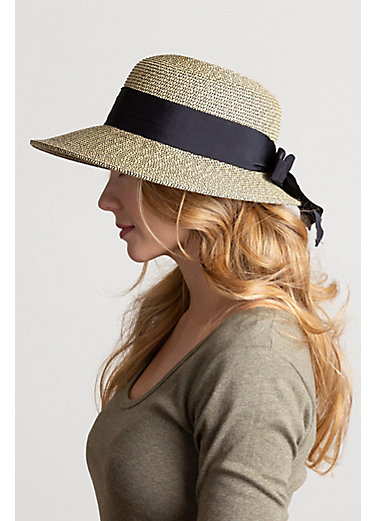 Packable Paper Braid-Blend Straw Sun Hat with Grosgrain Bow Brim
