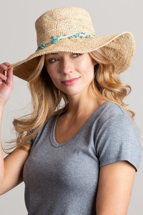 Overland Packable Crocheted Raffia Floppy Hat with Twisted Raffia Turquoise Band