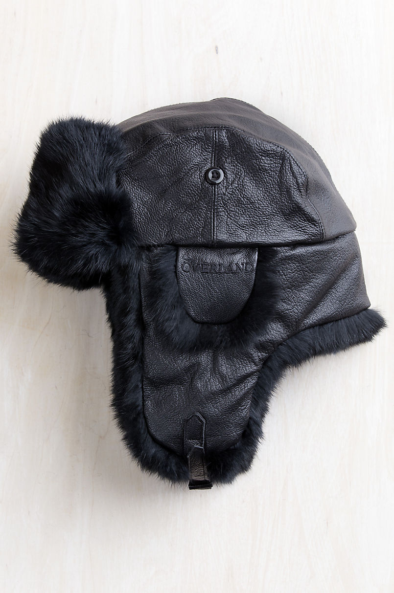 Overland Lambskin Leather Trapper Hat with Rabbit Fur Trim