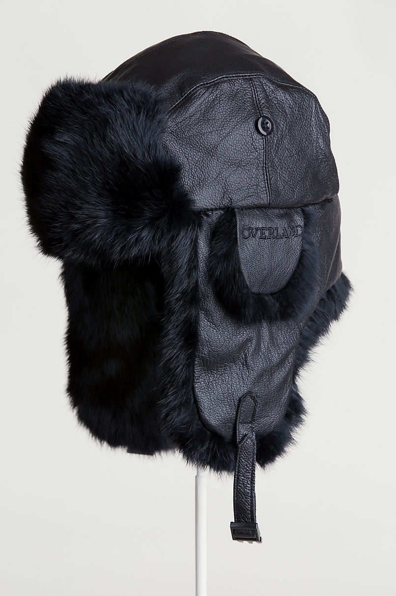 Lambskin Leather Trapper Hat with Rabbit Fur Trim
