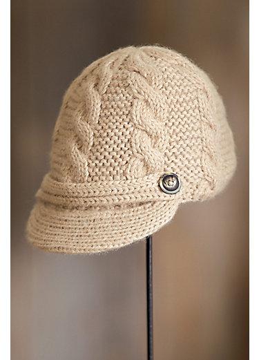 Cable Knit Baby Alpaca Wool Schoolboy Hat