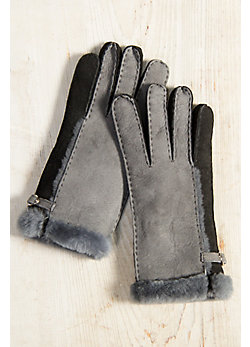 Women's 2-Tone Spanish Shearling Sheepskin Gloves