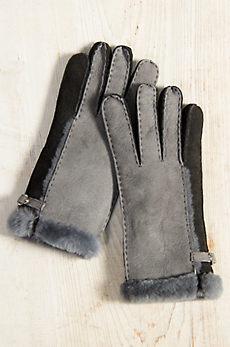 Women's 2-Tone Spanish Shearling Sheepskin Gloves