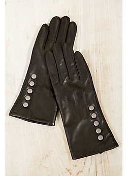 Women's Lambskin Leather Wool-Lined Gloves with Contrast Trim