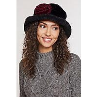 Edwardian Style Hats, Titanic Hats, Derby Hats Fancy Flower Shearling Sheepskin Cloche Hat BLACK Size 1 Size 22quot circumference $265.00 AT vintagedancer.com