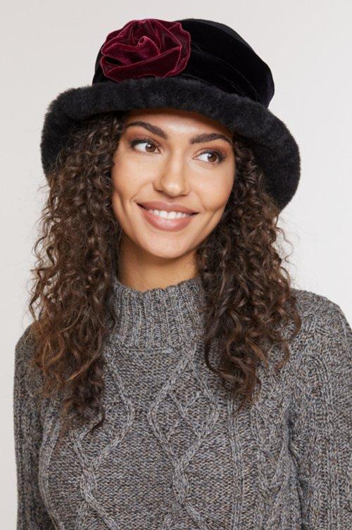 Fancy Flower Shearling Sheepskin Cloche Hat
