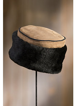 Pillbox Shearling Sheepskin Hat