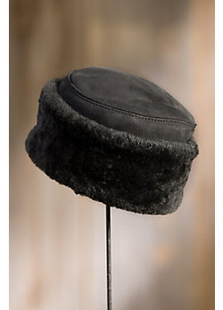 Shearling Sheepskin Pillbox Hat