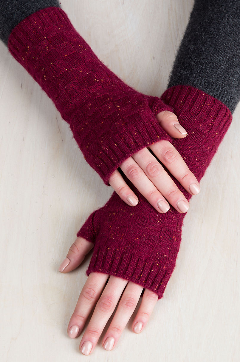 Speckled Knitted Cashmere Fingerless Gloves