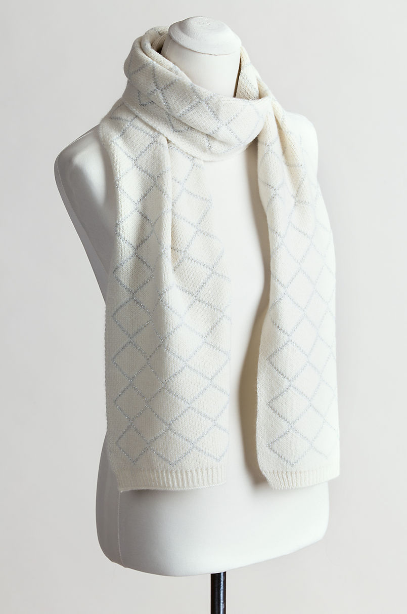 Knit Cashmere Scarf with Metallic Silver Diamond Motif