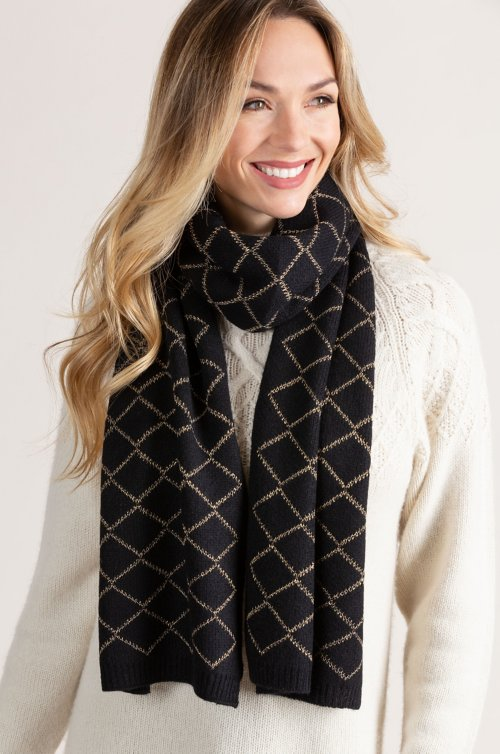 Knit Cashmere Scarf with Metallic Gold Diamond Motif