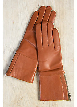 Women's Wool-Lined Lambskin Leather Gloves with Shearling Cuff