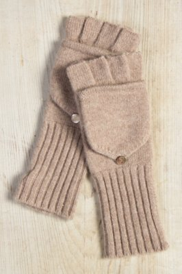 Women's Fingerless Cashmere Gloves with Mitten Top