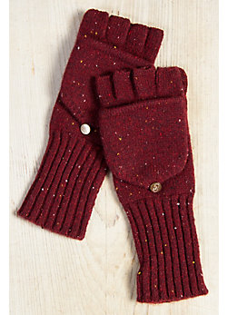 Women's Melange Fingerless Cashmere Gloves with Mitten Top