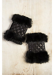 Women's Lambskin Leather Fingerless Gloves with Rabbit Fur Trim