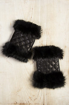 Women's Lambskin Leather Fingerless Gloves with Rabbit Fur Trim