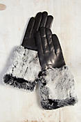 Women's Long Wool-Lined Lambskin Leather Gloves with Rabbit Fur Trim