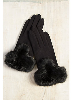 Women's Microfiber Gloves with Rabbit Fur Trim