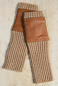 Women's Long Wool and Leather Fingerless Gloves