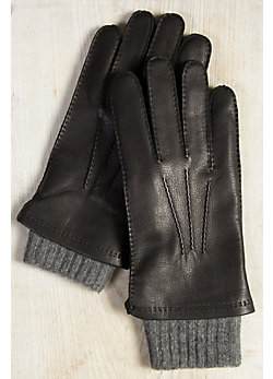 Men's 2-in-1 Cashmere-Lined Deerskin Leather Gloves