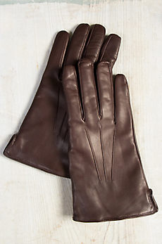 Men's Cashmere-Lined Lambskin Leather Texting Gloves