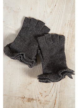Women's Ruffle Cashmere Fingerless Gloves