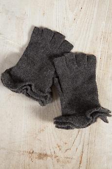Women's Ruffle Cashmere Fingerless Gloves