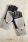 Women's Lambskin Leather and Alpaca Wool-Blend Fingerless Gloves with Mitten Flap