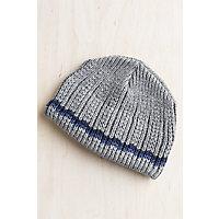 Check Stripe Merino Wool Beanie Hat