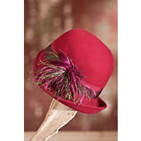 1930s Style Hats | 30s Ladies Hats Womens Peacock Wool Felt Cloche Hat WINE Size 1 Size $49.00 AT vintagedancer.com