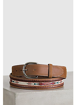 Horsehair Ribbon Braid Leather Belt