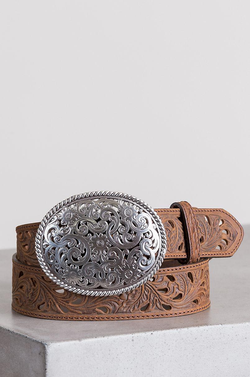 Pierced Filigree Trophy Leather Belt