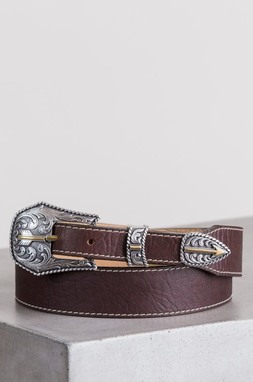 Broken Arrow American Bison Leather Belt